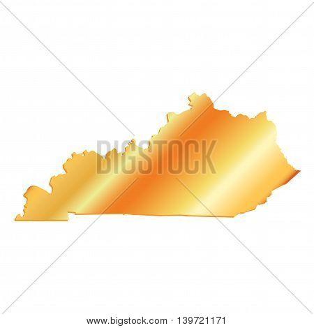 3D Kentucky (USA) Aluminium outline map with shadow