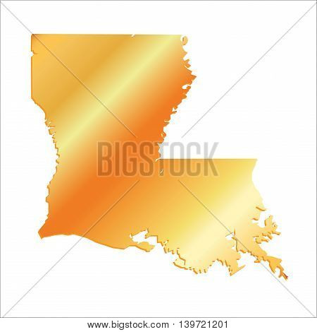 3D Louisiana (USA) Gold outline map with shadow, vector