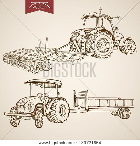 Engraving vintage hand drawn vector tractor Farm Sketch