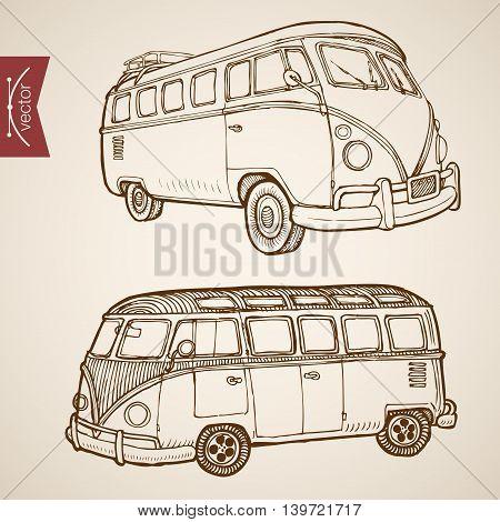 Engraving vintage hand drawn vector passenger bus Sketch
