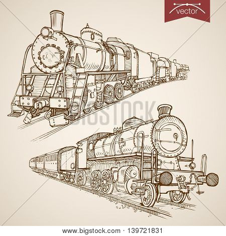 Engraving vintage hand drawn vector train transport Sketch