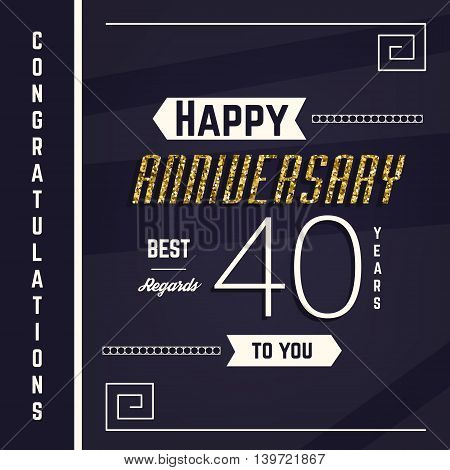Save Download Preview 40th anniversary decorated greeting card template with gold elements.
