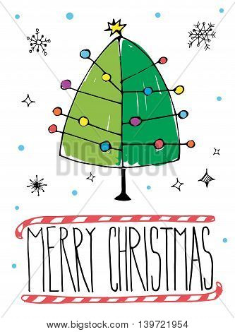 Vector illustration of Merry Christmas post card with hand drawn Christmas tree.