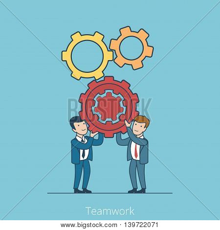 Teamwork Linear Flat Business people holding gearwheels vector