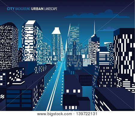 Vector illustration of architectural building in perspective view. Night.