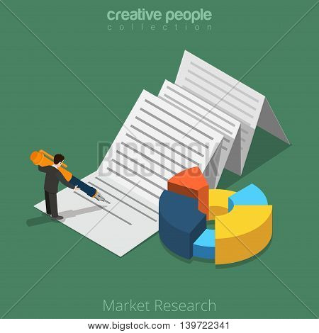 Market Research business 3d Flat isometric man on sheet vector