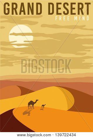 simple vector nature poster. sand, desert, camel, illustration.