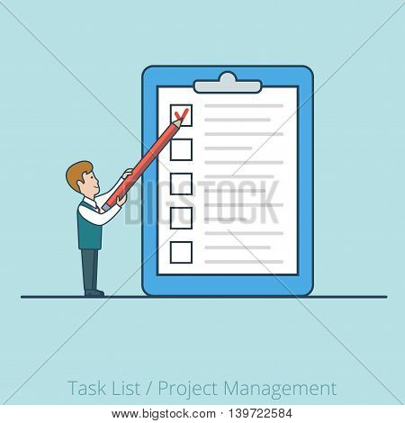 Linear Flat man list paper vector Project Task Manager business