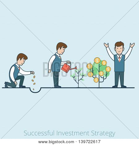 Linear Flat man seeds tree vector Successful Investment Strategy