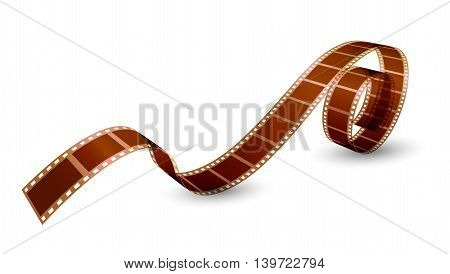 twisted film strip on white background. Vector illustration