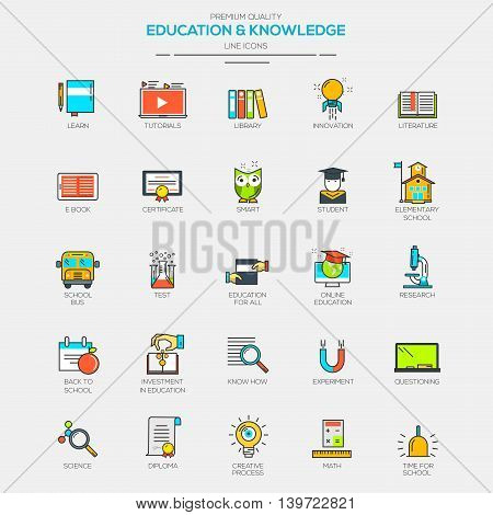 Flat Line Modern Color icons for Education and Knowledge. Vector