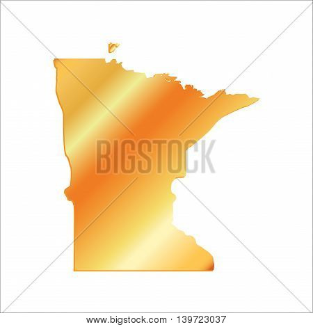 3D Minnesota (USA) Gold Boundary map with shadow