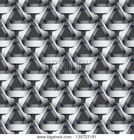 Seamless geometric pattern with grey ribbons texture.  Modern monochrome background.
