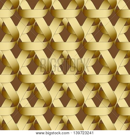 Seamless geometric pattern with golden  ribbons texture.  Modern monochrome background.