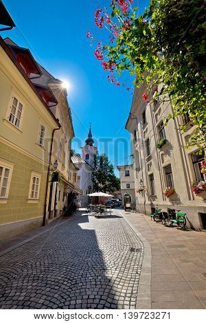 Cobbled old street and church of Ljubljana vertical view capital of Slovenia