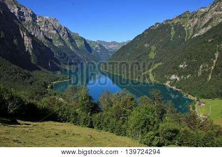 Lake Klontal in summer. View from Schwammhohe. Scene in the Swiss Alps.
