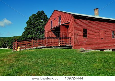 Hancock Massachusetts - September 17, 2014: The 1820 Tannery with entrance ramp at the historic Hancock Shaker Village