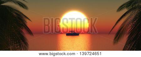 3D render of a yacht on a sunset ocean