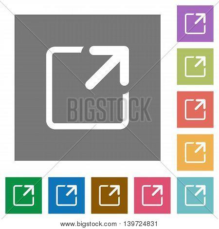 Maximize window flat icon set on color square background.