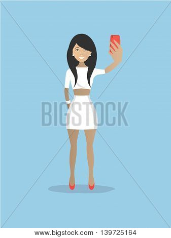 Lady in white makes selfie. There is a young brunette with phone in the picture. Vector illustration