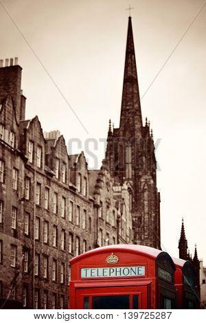Edinburgh city street view with telephone box in United Kingdom.