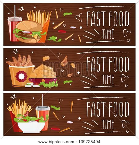 Set Of Banners For Theme Fast Food With Hamburgers,fries,cola And Chicken Nuggets. Vector Illustrati