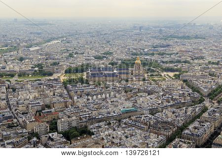 PARIS, FRANCE - MAY 12, 2015: This is the aerial view of the Les Invalides and the Church of St. Louis.