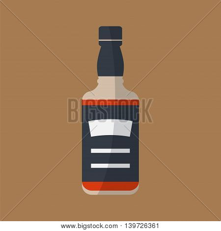 Whiskey bottle icon . Serving alcohol. Simple flat vector.