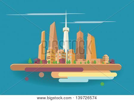 Modern city landscape background. Beautiful vector background. City flat art.