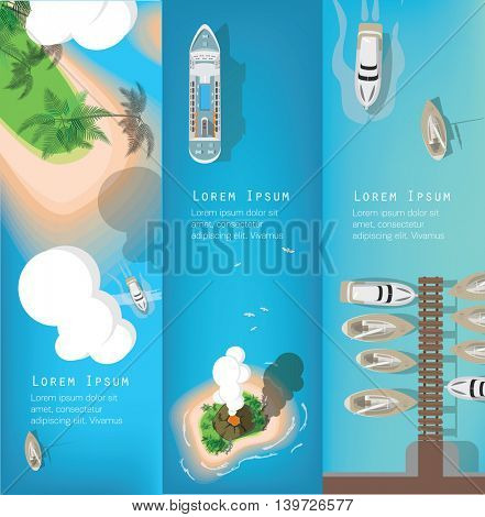 Top view of sea, ship and beaches . Flat vector banners.