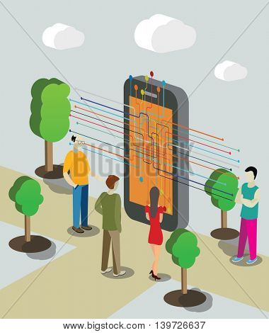 Isometry isometric technology online chat concept web vector illustration.