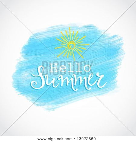 Hello summer design on an acrylic paint background