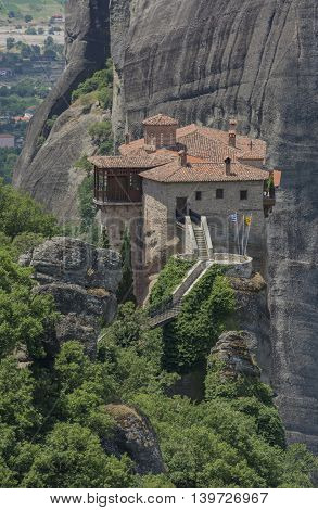 The Meteora monasteries in the picturesque mountains of Greece.