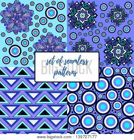 Set of seamless patterns in blue, vector illustration