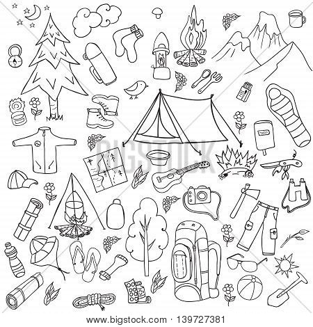 Recreation. Tourism and camping set. Hand drawn doodle Camping Elements - vector illustration