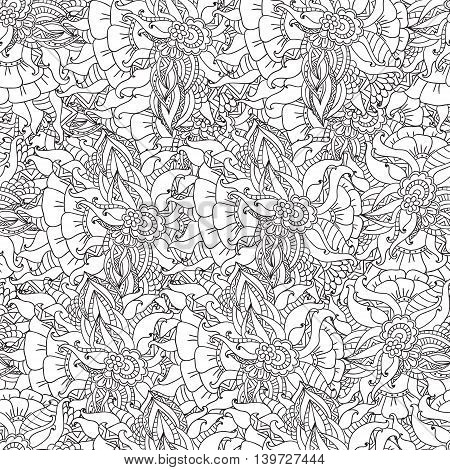 Hand drawn artistic ethnic ornamental patterned floral frame in doodle style for adult coloring pages, t-shirt or prints. Vector spring illustration.seamless pattern