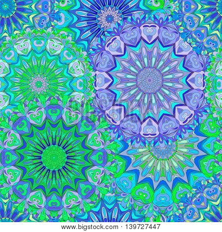 Colorful seamless pattern mandala can be used for wallpaper pattern fills web page background surface textures. Arabic, Islam, India.
