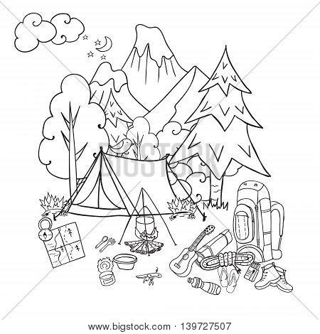 Hiking, camping and outdoor recreation concept with camping tent, trees, bonfire hand drawn camping landscape in sketch style vector illustration for tourism poster, banner, postcard
