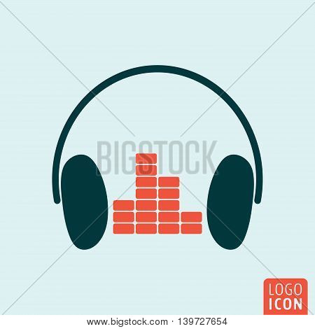Headphones icon. Headphones with equalizer symbol. Vector illustration