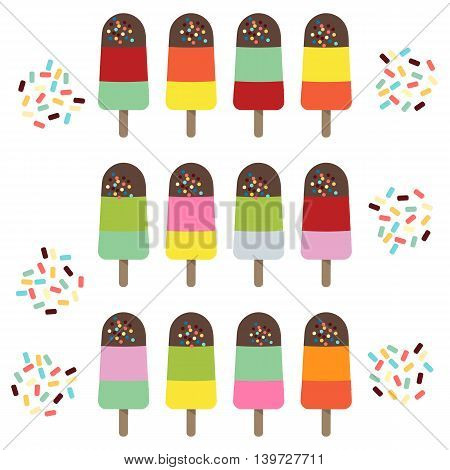 Set of colorful popsicles with sprinkles. Vector illustration.
