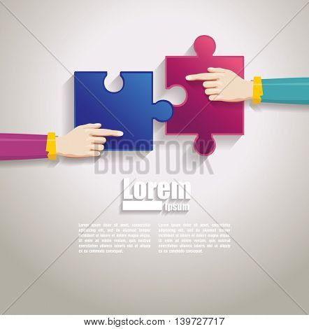 hands together team work. Hands putting puzzle pieces. Teamwork and bussiness concept.