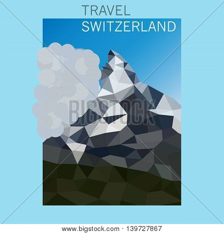 Mountain Matterhorn in Switzerland. Vector illustration in modern geometrical style .