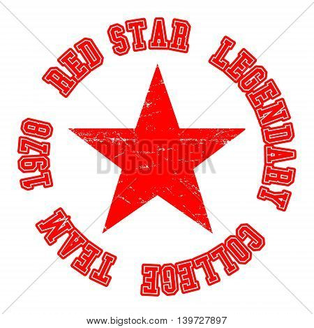 T-shirt print design. Red strar vintage stamp. Printing and badge applique label for t-shirts jeans casual wear. Vector illustration.