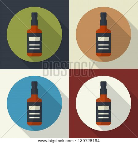 Whiskey bottle round flat icon with long shadows. Serving alcohol. Simple flat vector.