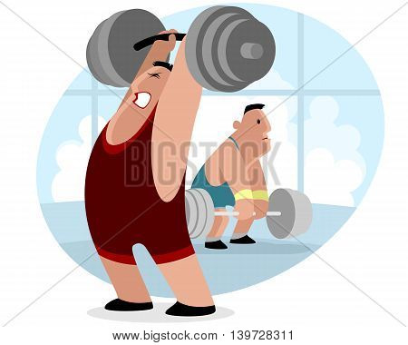 Vector illustration of a weightlifter with barbell