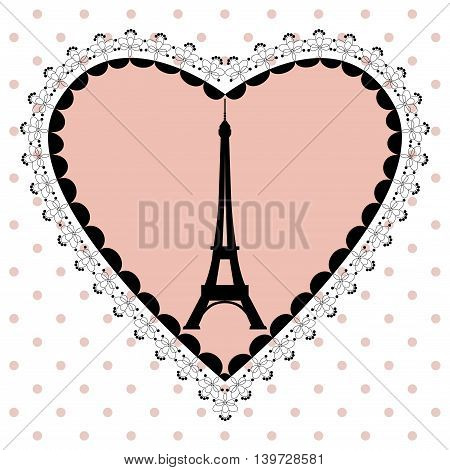 Eiffel tower border template vector. Eiffel Tower on a pink heart