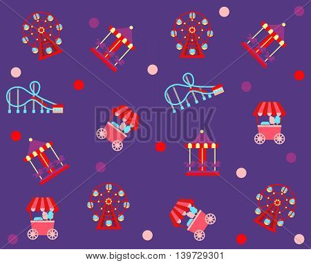 Amusement Park.  Attractions on the purple background. Vector illustration