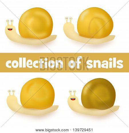 Collection Of Four Cartoon Cute Snails
