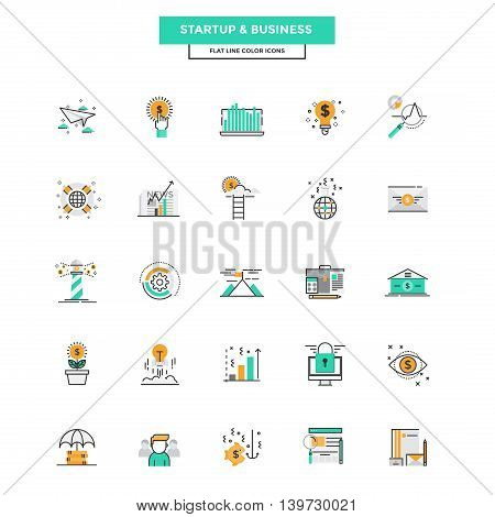 Set of Modern Flat Line icon Concept of Business Start up Management Online Marketing Research and Analysis use in Web Project and Applications. Vector Illustration