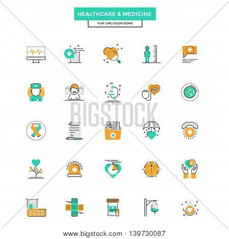 Set of Modern Flat Line icon Concept of Healthcare and Medicine use in Web Project and Applications. Vector Illustration